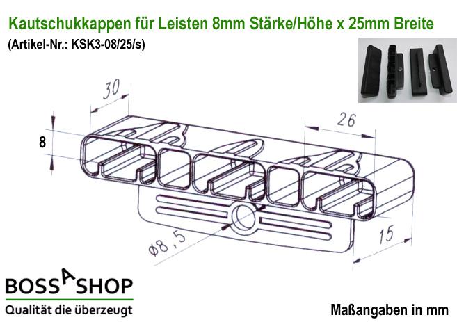 kautschukkappen mit befestigungslasche in verschiedenen st rken und breiten 10er paket. Black Bedroom Furniture Sets. Home Design Ideas